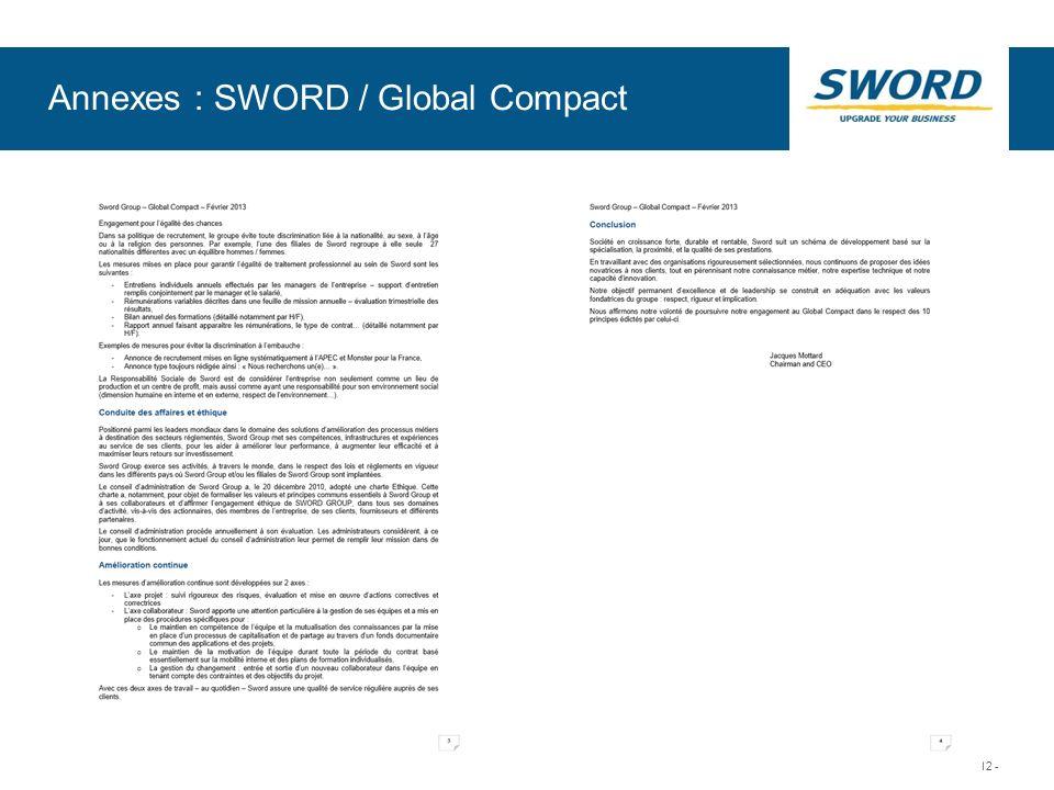Sword © Sword Group - 12 - Annexes : SWORD / Global Compact