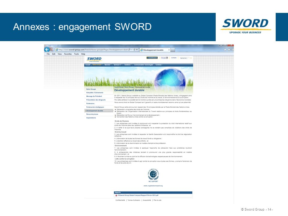 Sword © Sword Group - 14 - Annexes : engagement SWORD