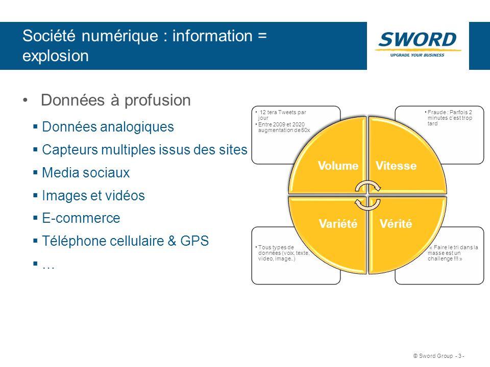Sword © Sword Group - 3 - Société numérique : information = explosion Données à profusion Données analogiques Capteurs multiples issus des sites Media