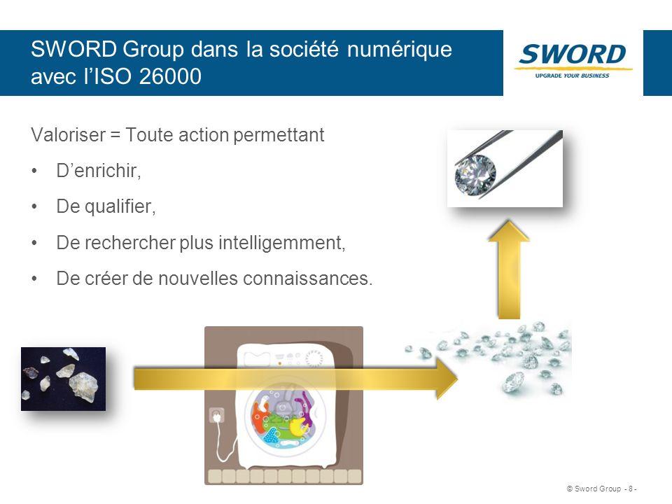 Sword © Sword Group - 8 - SWORD Group dans la société numérique avec lISO 26000 Valoriser = Toute action permettant Denrichir, De qualifier, De recher