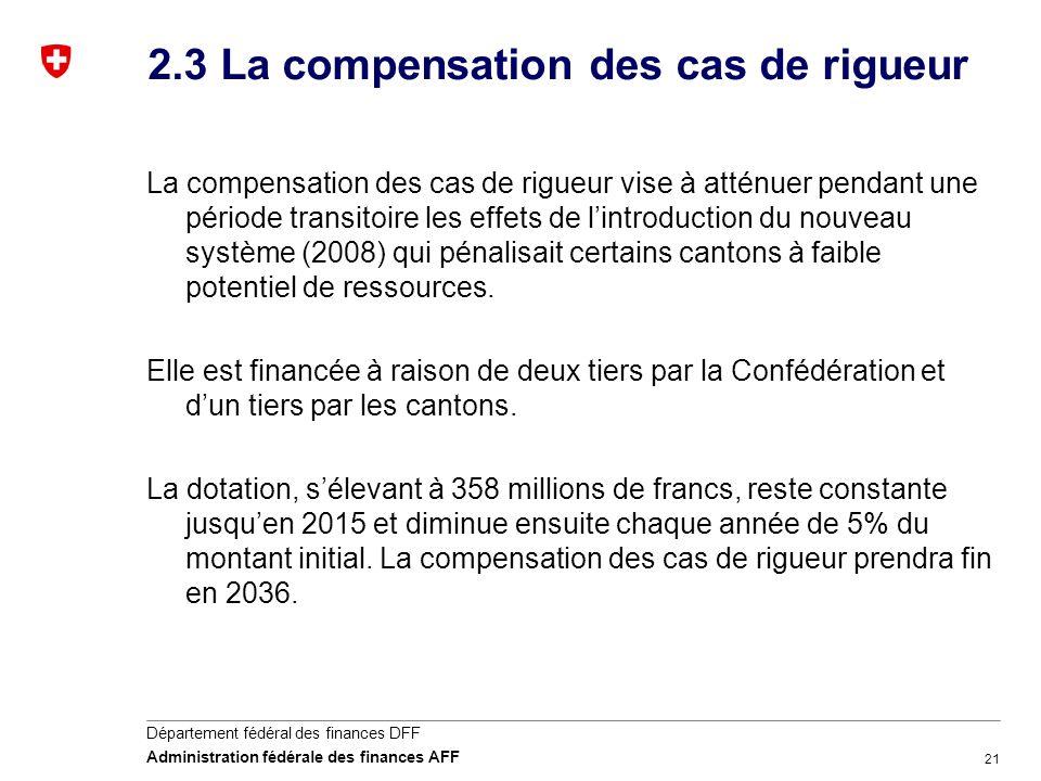 21 Département fédéral des finances DFF Administration fédérale des finances AFF 2.3 La compensation des cas de rigueur La compensation des cas de rig