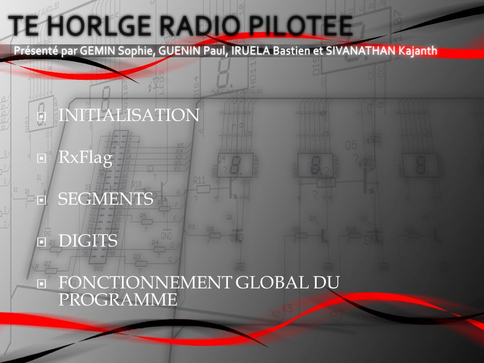 INITIALISATION RxFlag SEGMENTS DIGITS FONCTIONNEMENT GLOBAL DU PROGRAMME
