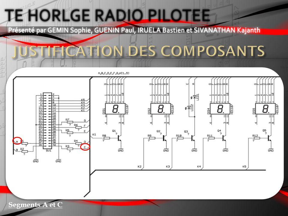 Ic = 250 mA Ic = 200 mA Courant de la diode = 10 mA Facteur 5 (moyenne) Facteur 5 ( 5 branches) Facteur 2 Coefficient de sécurité 2 Segments B,D,E,F et G