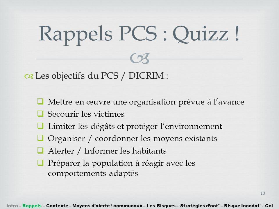 Les objectifs du PCS / DICRIM : Mettre en œuvre une organisation prévue à lavance Secourir les victimes Limiter les dégâts et protéger lenvironnement