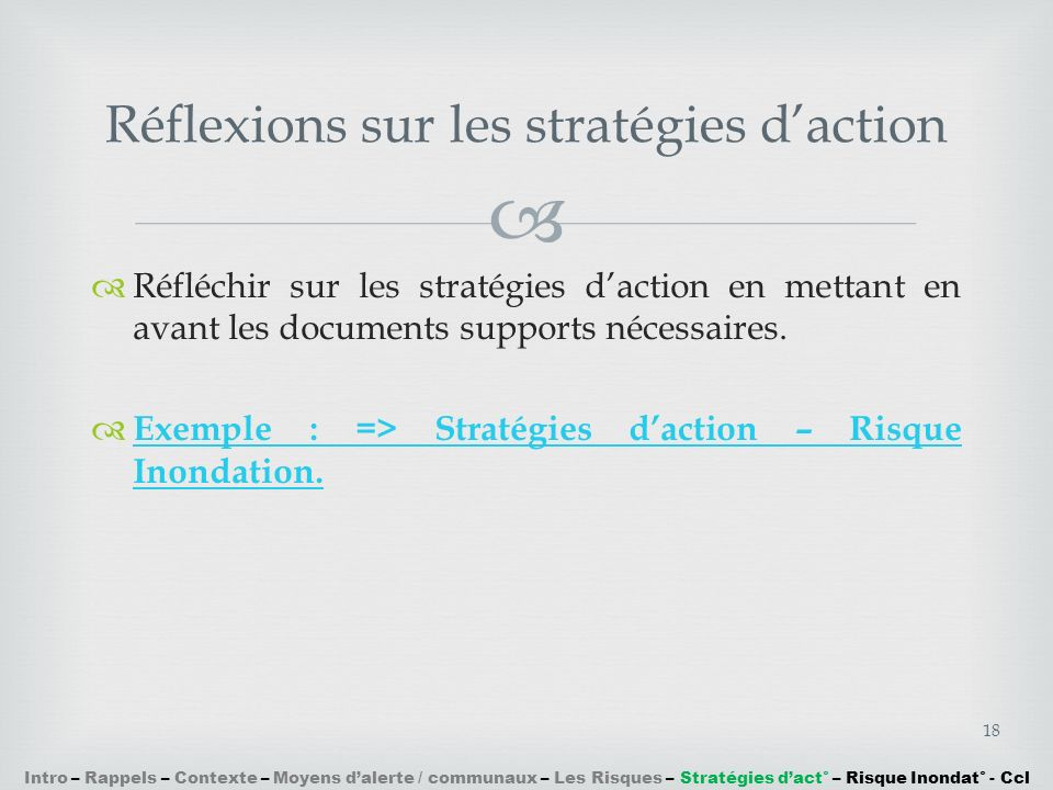 Réfléchir sur les stratégies daction en mettant en avant les documents supports nécessaires. Exemple : => Stratégies daction – Risque Inondation. Exem