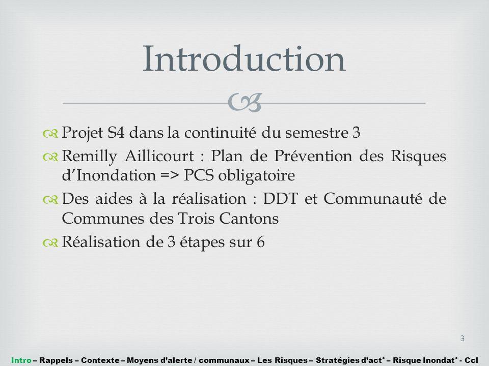 Projet S4 dans la continuité du semestre 3 Remilly Aillicourt : Plan de Prévention des Risques dInondation => PCS obligatoire Des aides à la réalisati