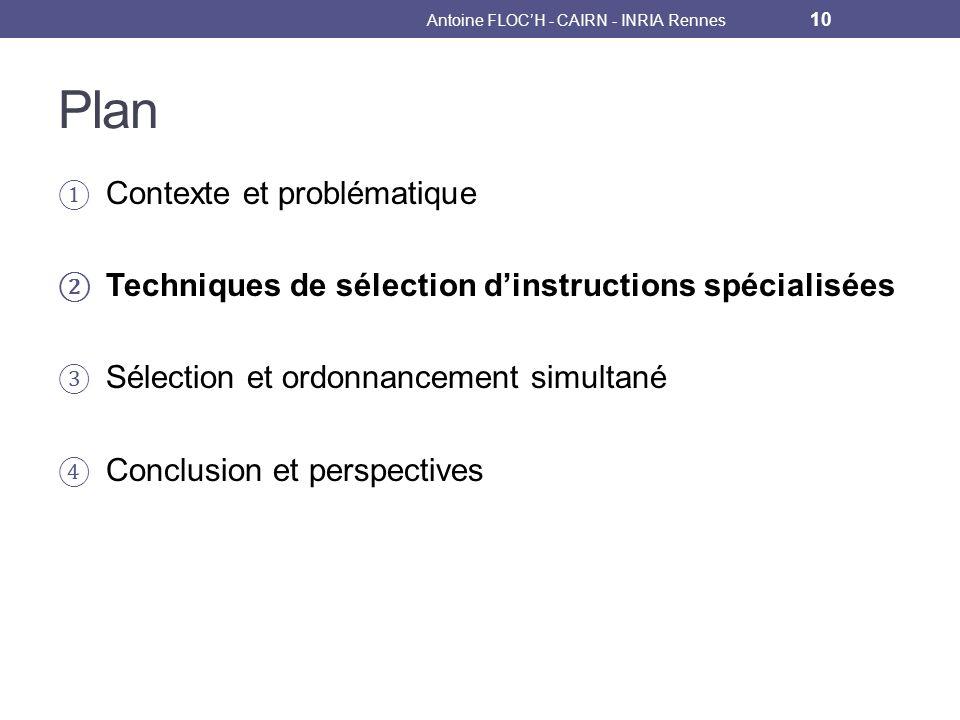 Plan Contexte et problématique Techniques de sélection dinstructions spécialisées Sélection et ordonnancement simultané Conclusion et perspectives Antoine FLOCH - CAIRN - INRIA Rennes 10