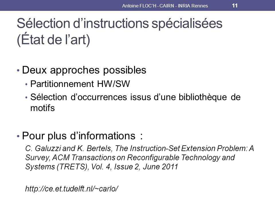 Sélection dinstructions spécialisées (État de lart) Deux approches possibles Partitionnement HW/SW Sélection doccurrences issus dune bibliothèque de motifs Pour plus dinformations : C.