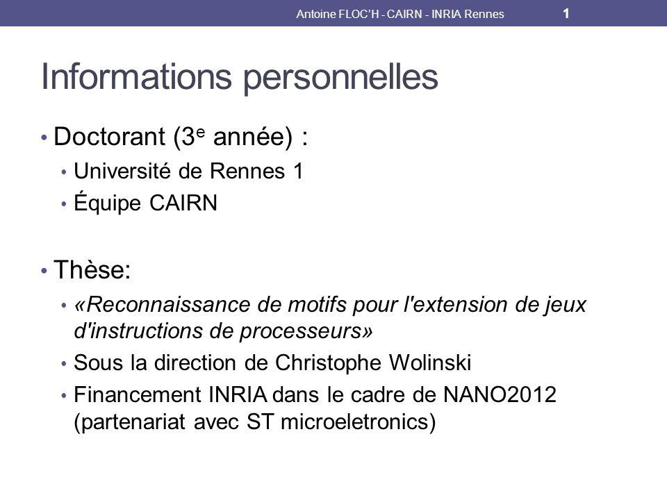 Scénario dordonnancement Antoine FLOCH - CAIRN - INRIA Rennes 32 m1 m2 m3 Cycle 1