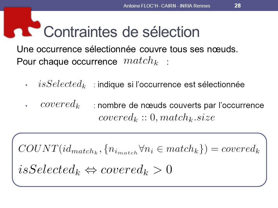Contraintes de sélection Une occurrence sélectionnée couvre tous ses nœuds.