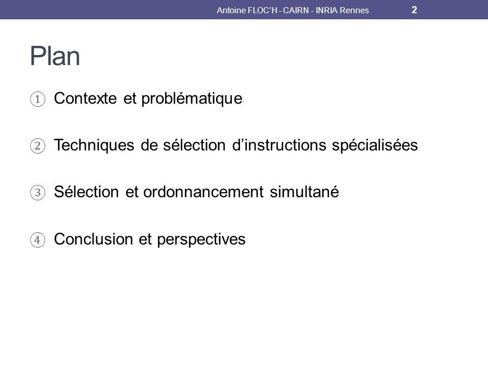 Plan Contexte et problématique Techniques de sélection dinstructions spécialisées Sélection et ordonnancement simultané Conclusion et perspectives Antoine FLOCH - CAIRN - INRIA Rennes 2