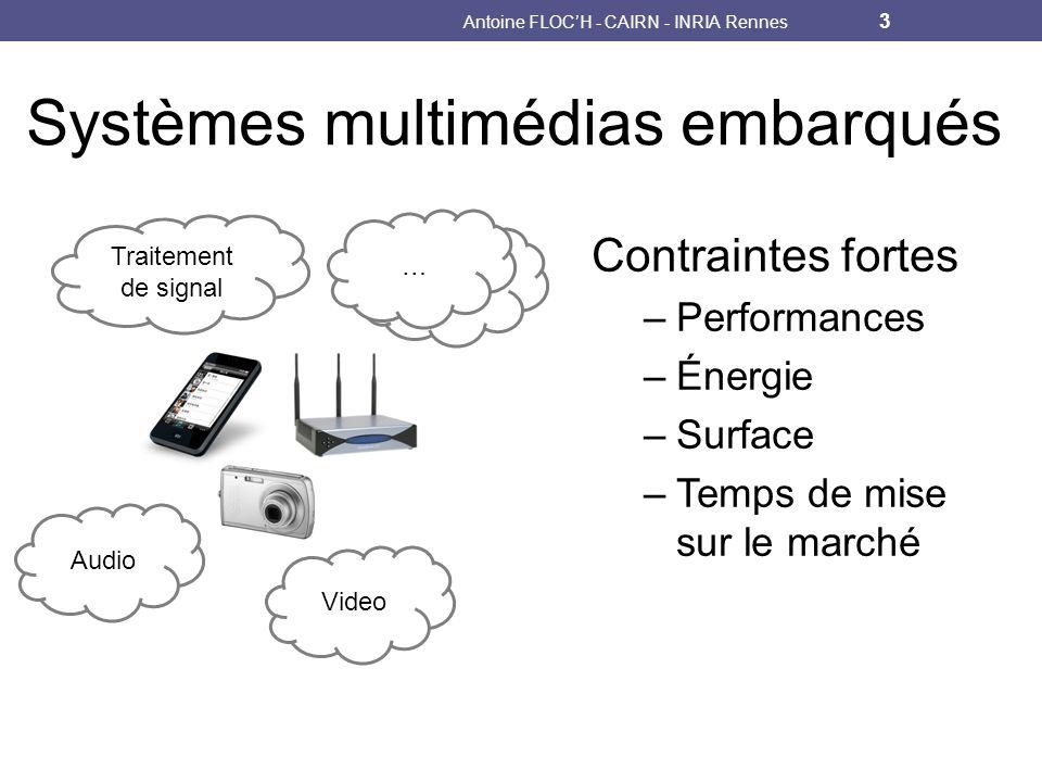 Audio Systèmes multimédias embarqués Video Traitement de signal … … Contraintes fortes –Performances –Énergie –Surface –Temps de mise sur le marché Antoine FLOCH - CAIRN - INRIA Rennes 3