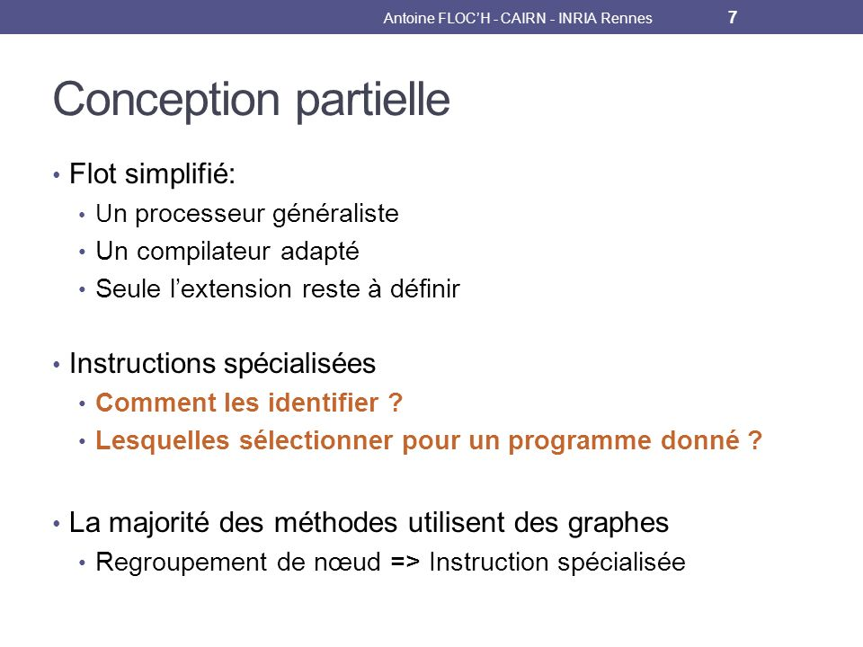 Antoine FLOCH - CAIRN - INRIA Rennes 38 m1 m2 m3 Cycle 7 m3 Scénario dordonnancement