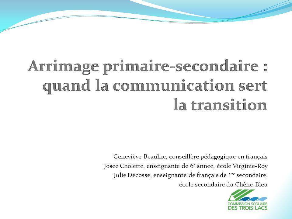 Geneviève Beaulne, conseillère pédagogique en français Josée Cholette, enseignante de 6 e année, école Virginie-Roy Julie Décosse, enseignante de fran