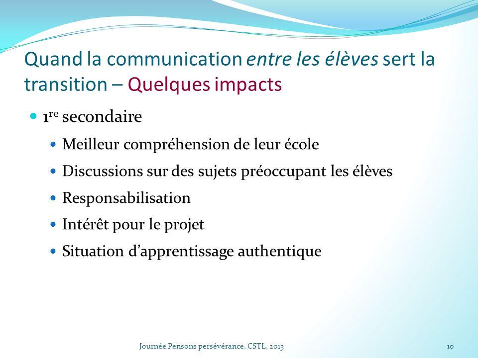 Quand la communication entre les élèves sert la transition – Quelques impacts 1 re secondaire Meilleur compréhension de leur école Discussions sur des