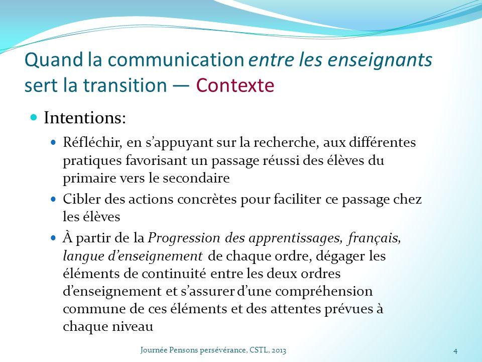 Quand la communication entre les enseignants sert la transition Contexte Intentions: Réfléchir, en sappuyant sur la recherche, aux différentes pratiqu
