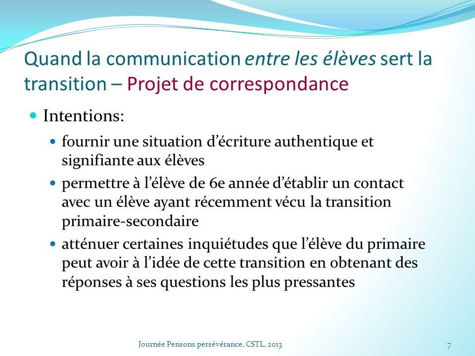 Quand la communication entre les élèves sert la transition – Projet de correspondance Intentions: fournir une situation décriture authentique et signi
