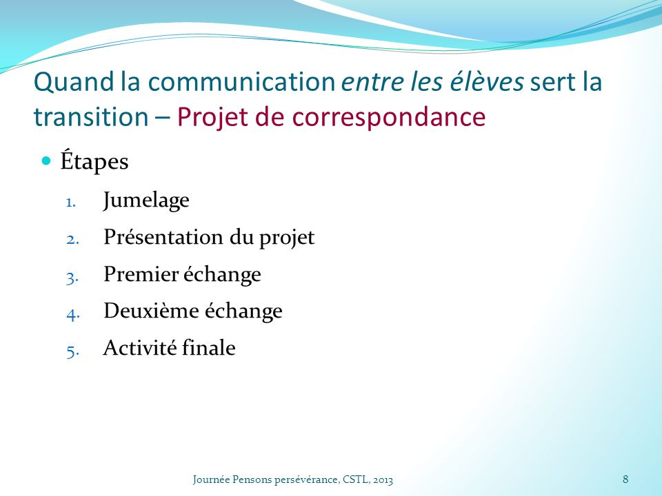Quand la communication entre les élèves sert la transition – Projet de correspondance Étapes 1. Jumelage 2. Présentation du projet 3. Premier échange