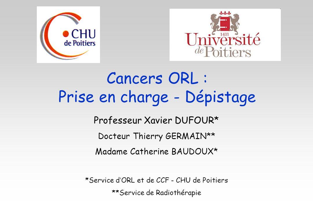 Cancers ORL : Prise en charge - Dépistage Professeur Xavier DUFOUR* Docteur Thierry GERMAIN** Madame Catherine BAUDOUX* *Service d ORL et de CCF - CHU