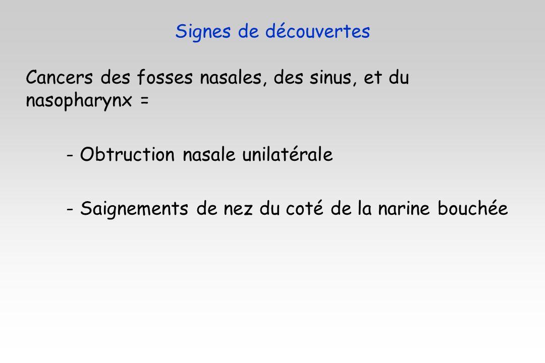Cancers des fosses nasales, des sinus, et du nasopharynx = - Obtruction nasale unilatérale - Saignements de nez du coté de la narine bouchée Signes de