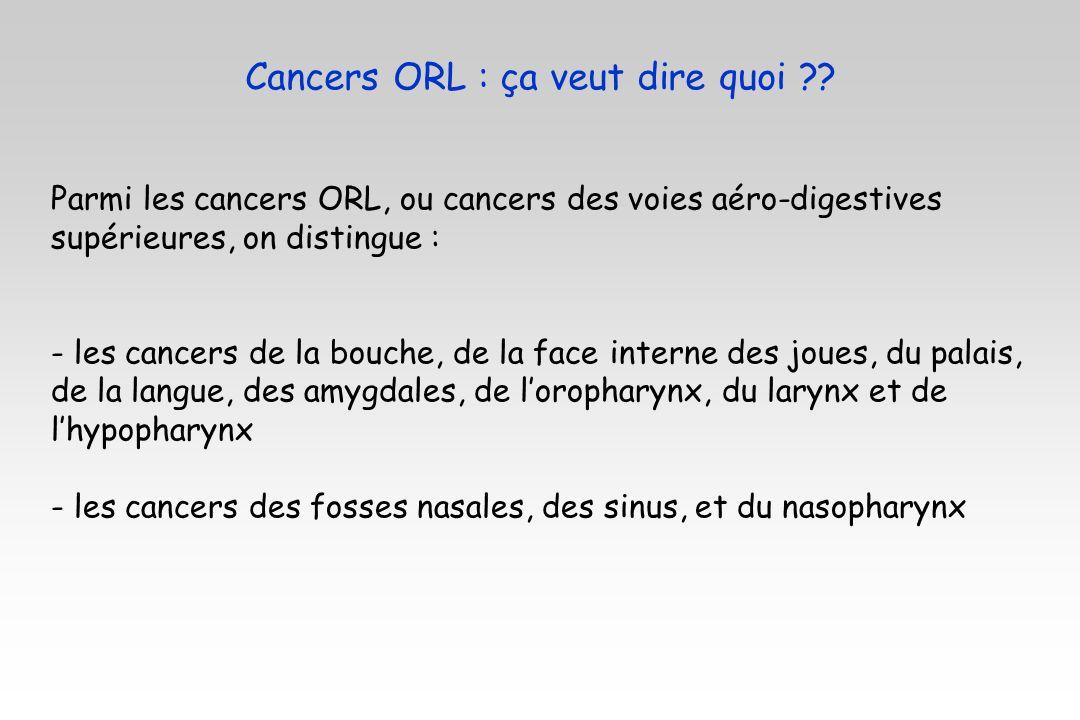 Cancers ORL : ça veut dire quoi ?? Parmi les cancers ORL, ou cancers des voies aéro-digestives supérieures, on distingue : - les cancers de la bouche,