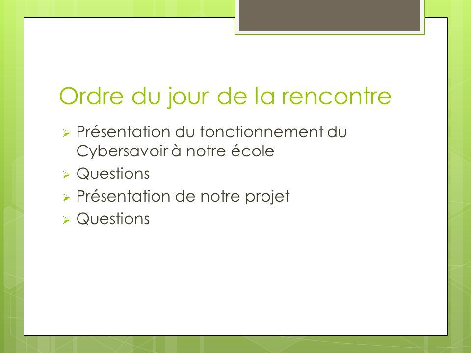 Ordre du jour de la rencontre Présentation du fonctionnement du Cybersavoir à notre école Questions Présentation de notre projet Questions