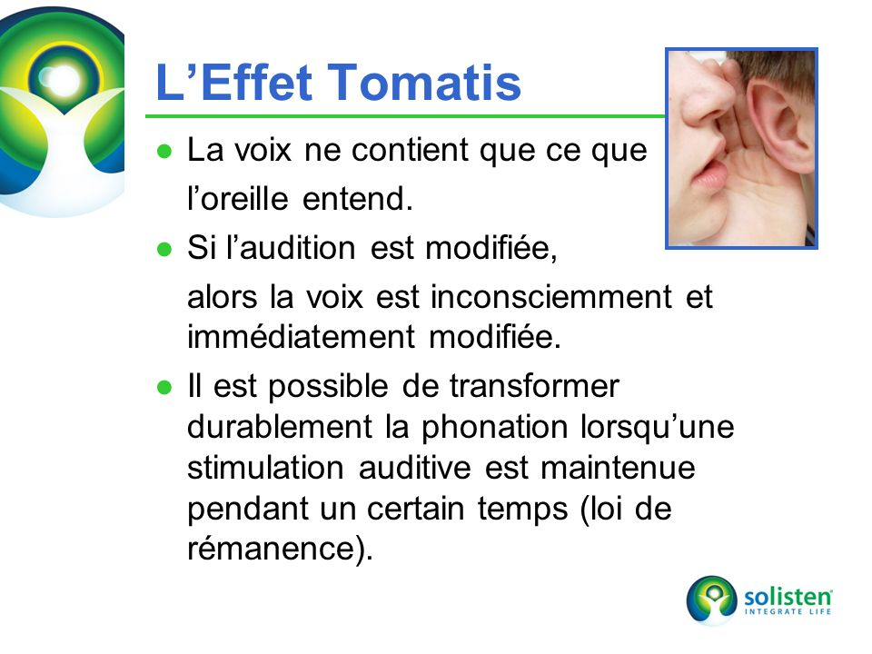 © Solisten LLC., 2009 LEffet Tomatis La voix ne contient que ce que loreille entend.