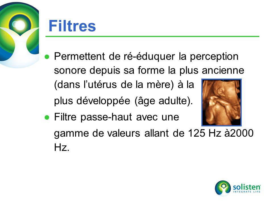 © Solisten LLC., 2009 15 Filtres Permettent de ré-éduquer la perception sonore depuis sa forme la plus ancienne (dans lutérus de la mère) à la plus développée (âge adulte).
