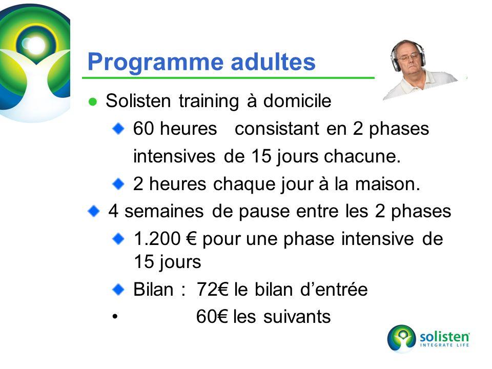 © Solisten LLC., 2009 18 Programme adultes Solisten training à domicile 60 heures consistant en 2 phases intensives de 15 jours chacune. 2 heures chaq