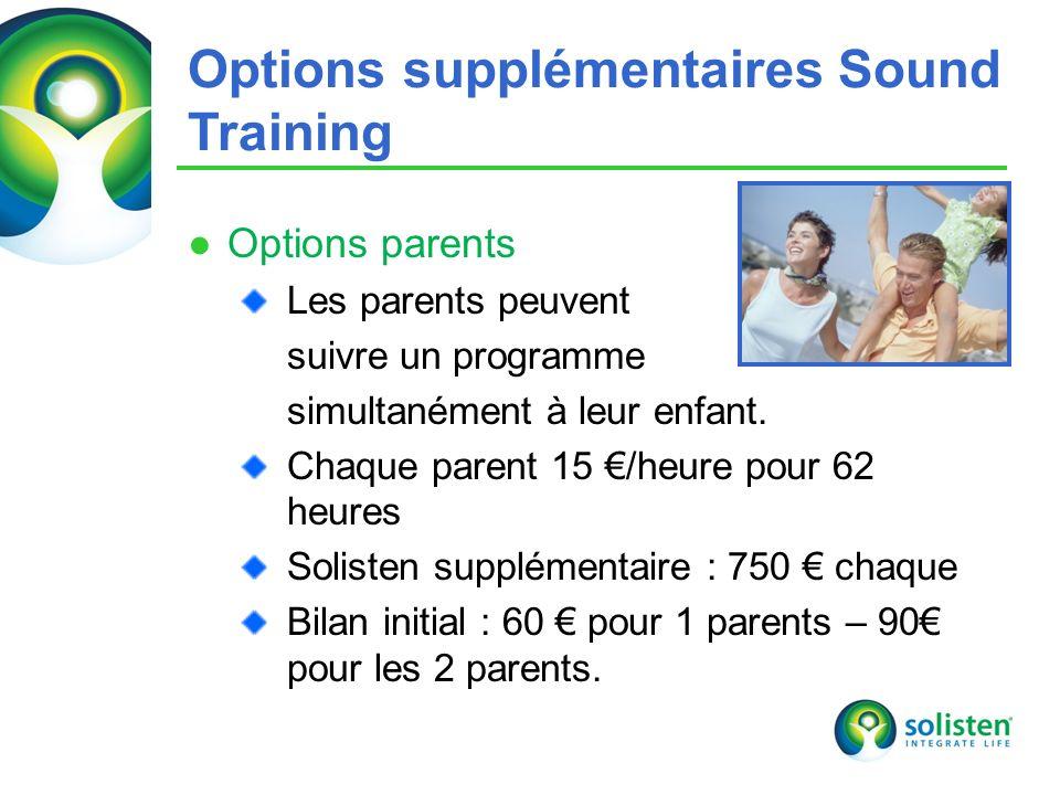 © Solisten LLC., 2009 Options parents Les parents peuvent suivre un programme simultanément à leur enfant. Chaque parent 15 /heure pour 62 heures Soli