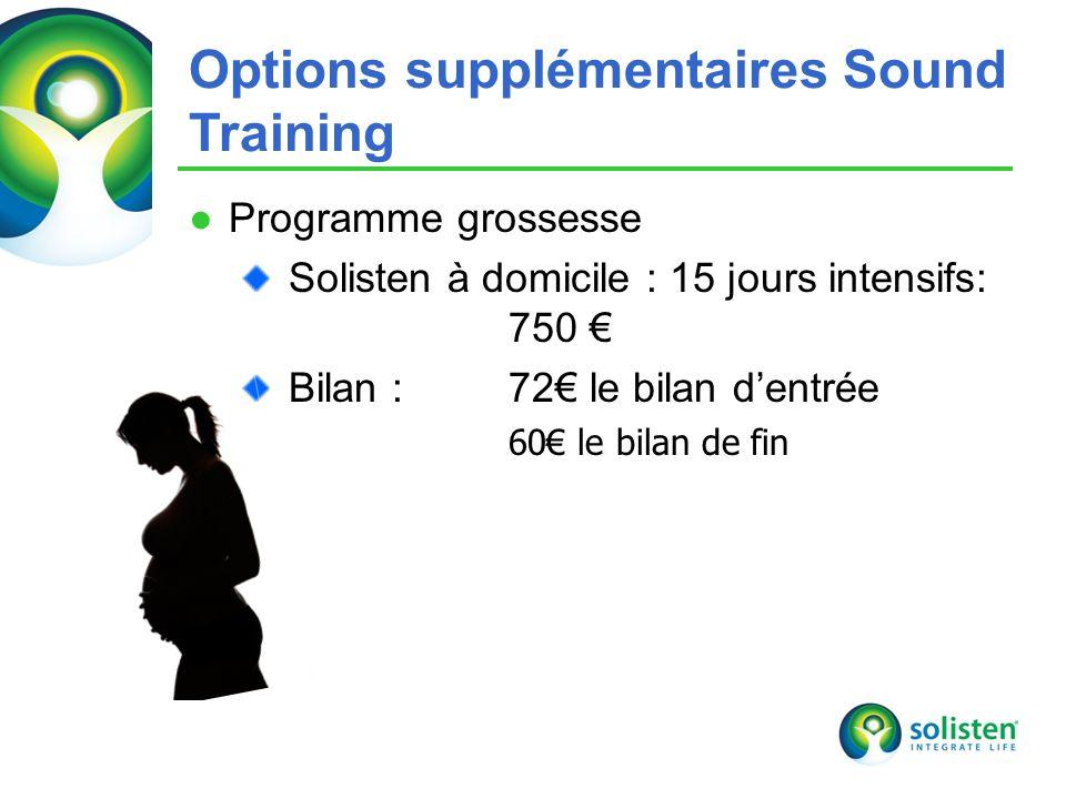 © Solisten LLC., 2009 Programme grossesse Solisten à domicile : 15 jours intensifs: 750 Bilan : 72 le bilan dentrée 60 le bilan de fin 21 Options supplémentaires Sound Training