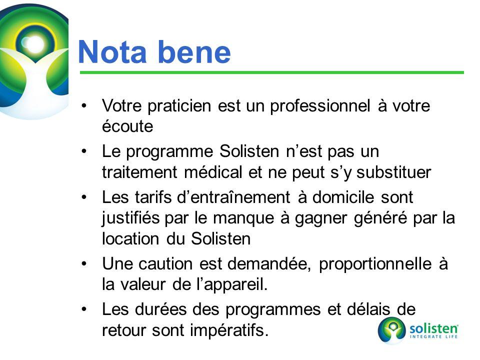 © Solisten LLC., 2009 23 Nota bene Votre praticien est un professionnel à votre écoute Le programme Solisten nest pas un traitement médical et ne peut