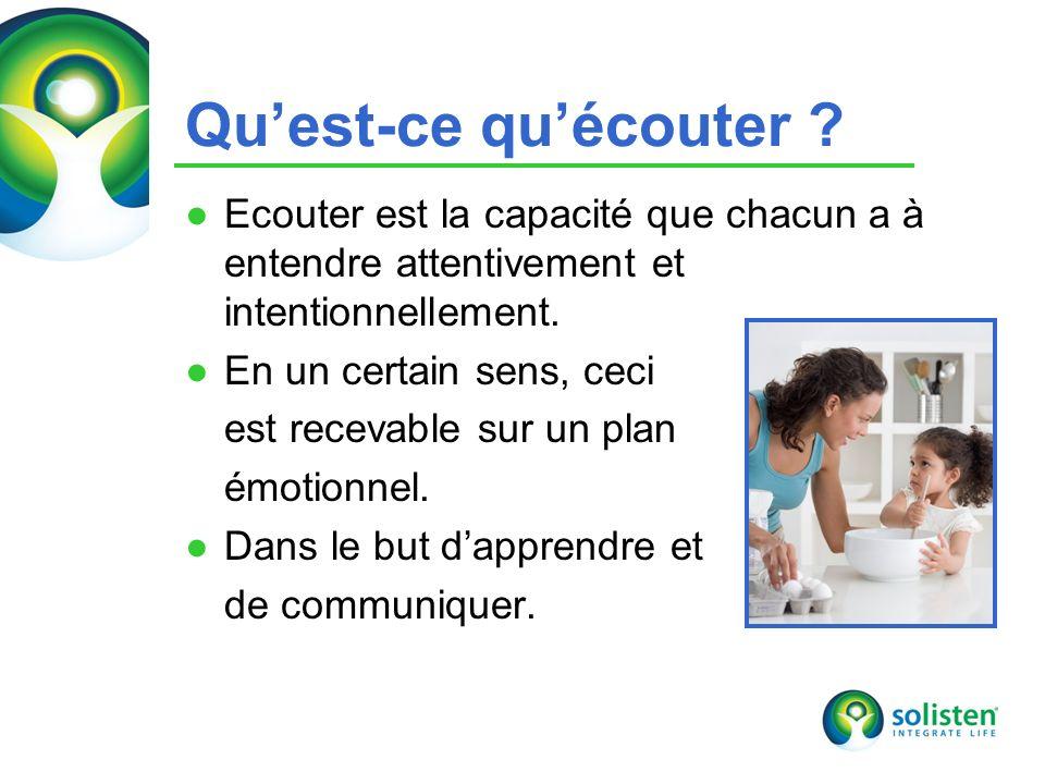 © Solisten LLC., 2009 Quest-ce quécouter ? Ecouter est la capacité que chacun a à entendre attentivement et intentionnellement. En un certain sens, ce