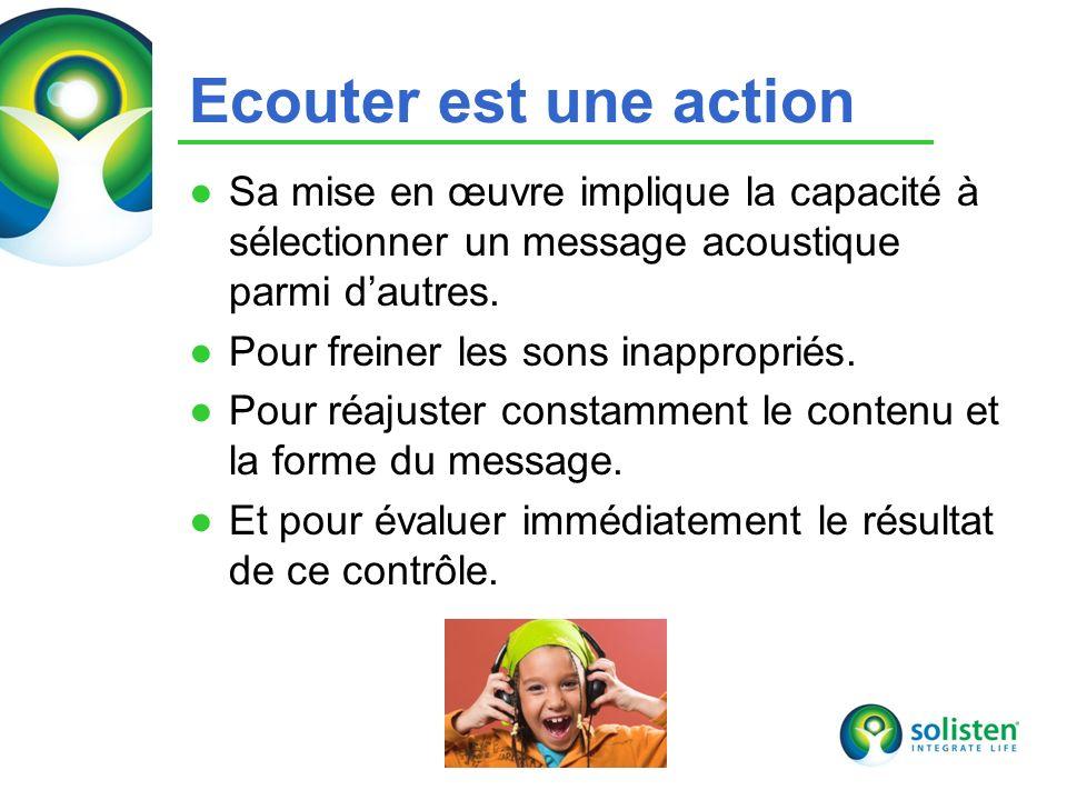 © Solisten LLC., 2009 Ecouter est une action Sa mise en œuvre implique la capacité à sélectionner un message acoustique parmi dautres. Pour freiner le
