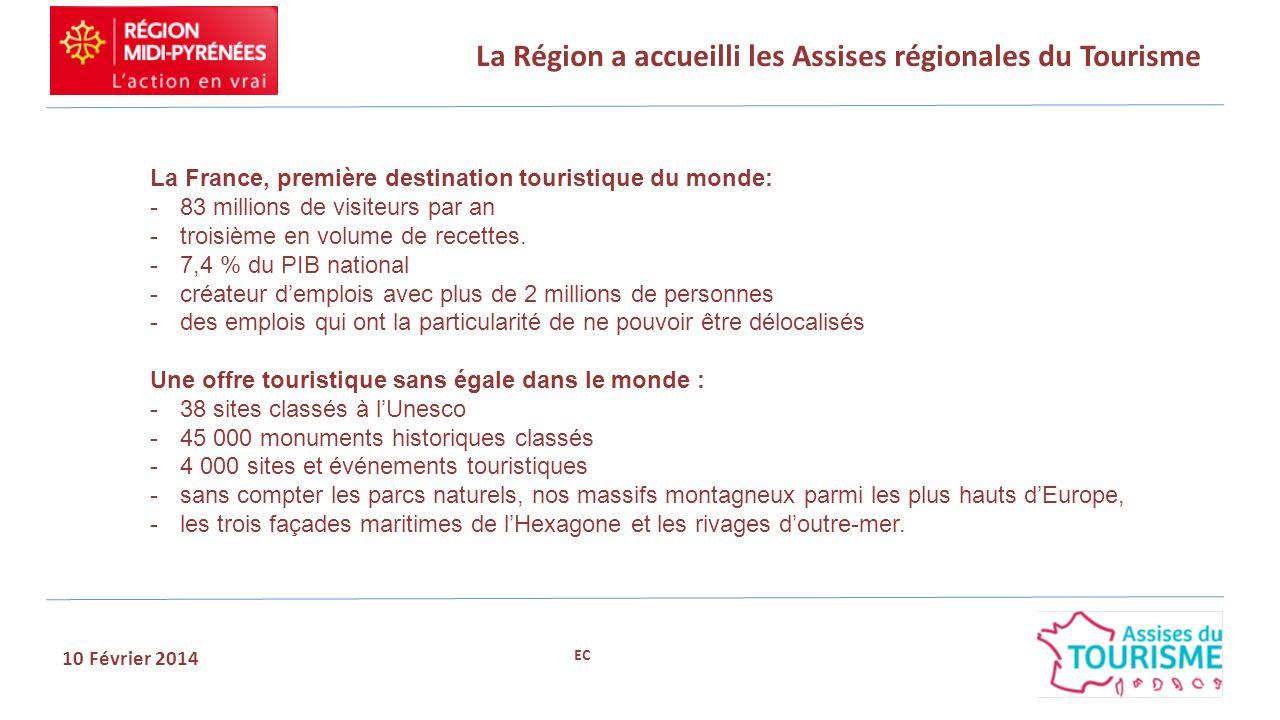 La Région a accueilli les Assises régionales du Tourisme 10 Février 2014 La France, première destination touristique du monde: -83 millions de visiteurs par an -troisième en volume de recettes.