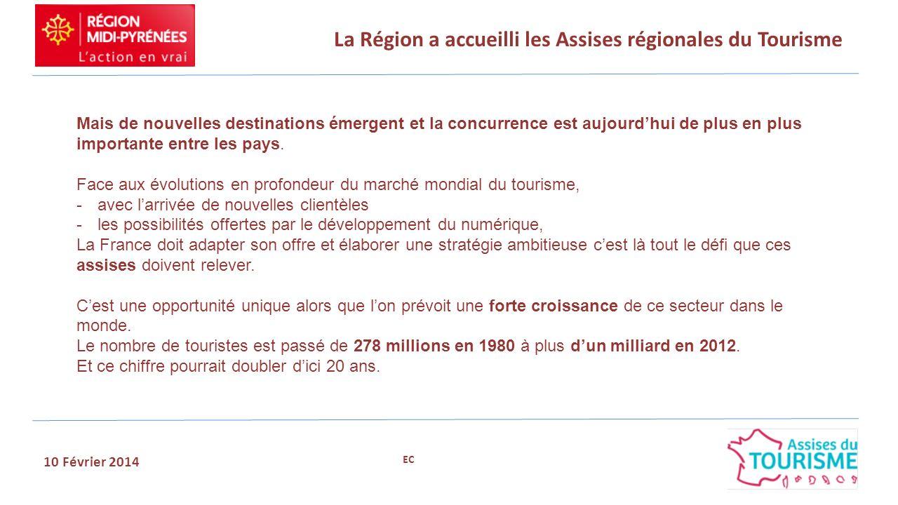 La Région a accueilli les Assises régionales du Tourisme 10 Février 2014 Objectifs fixés par le président de la République: -maintenir la France au premier rang mondial -dégager le premier solde touristique de tous les pays dEurope.