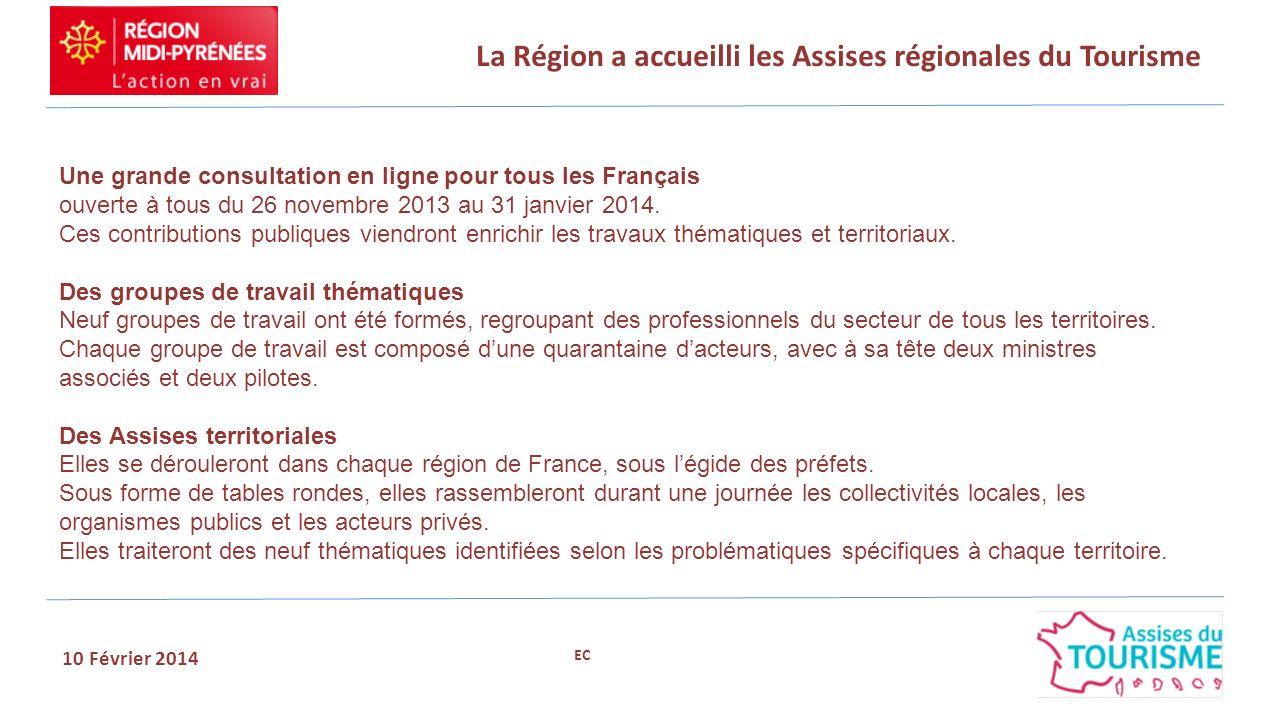 La Région a accueilli les Assises régionales du Tourisme 10 Février 2014 Une grande consultation en ligne pour tous les Français ouverte à tous du 26
