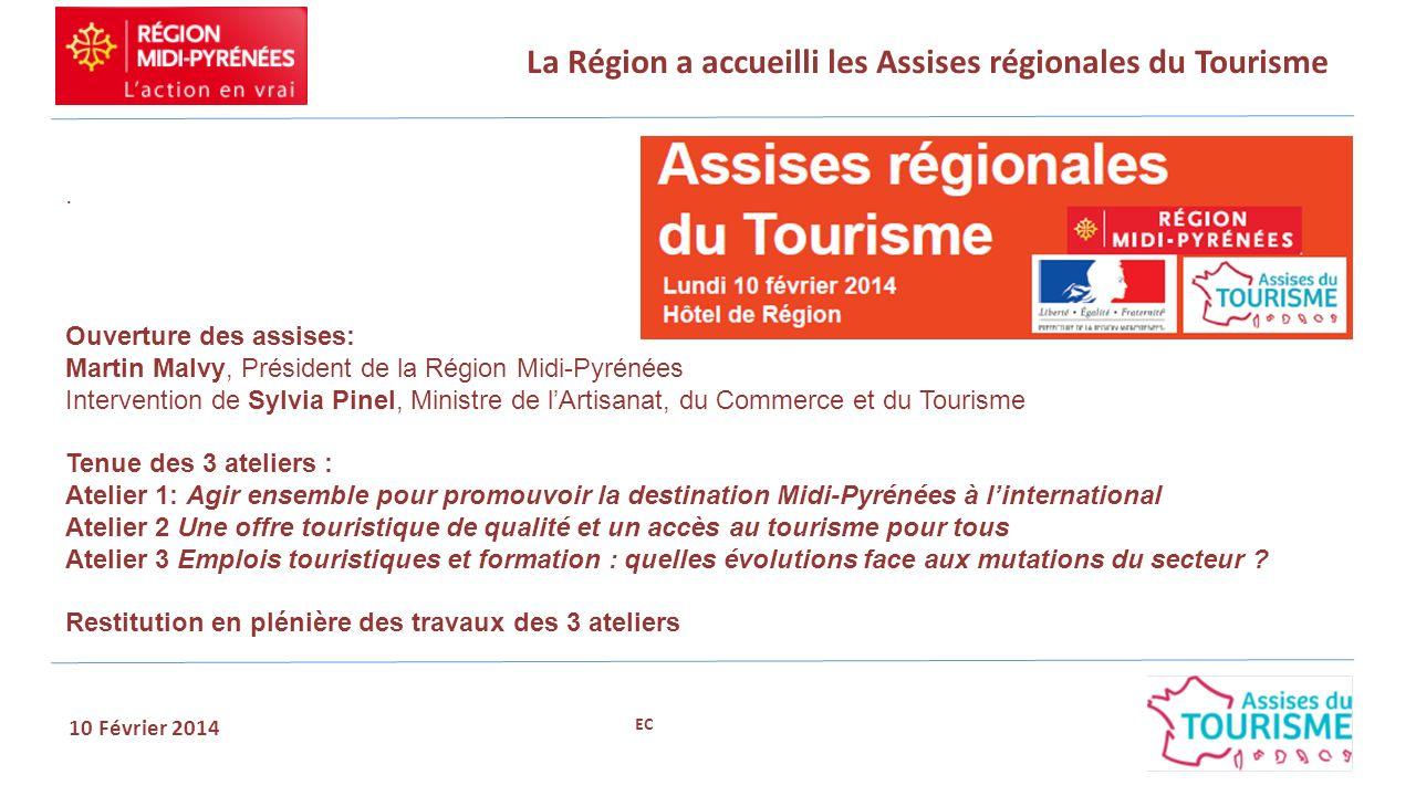 La Région a accueilli les Assises régionales du Tourisme 10 Février 2014. Ouverture des assises: Martin Malvy, Président de la Région Midi-Pyrénées In