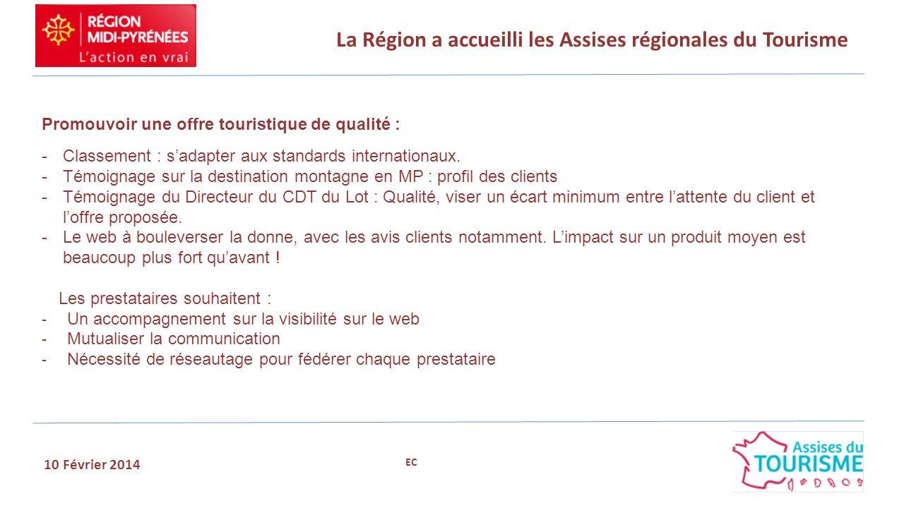 La Région a accueilli les Assises régionales du Tourisme 10 Février 2014.Promouvoir une offre touristique de qualité : - Classement : sadapter aux sta