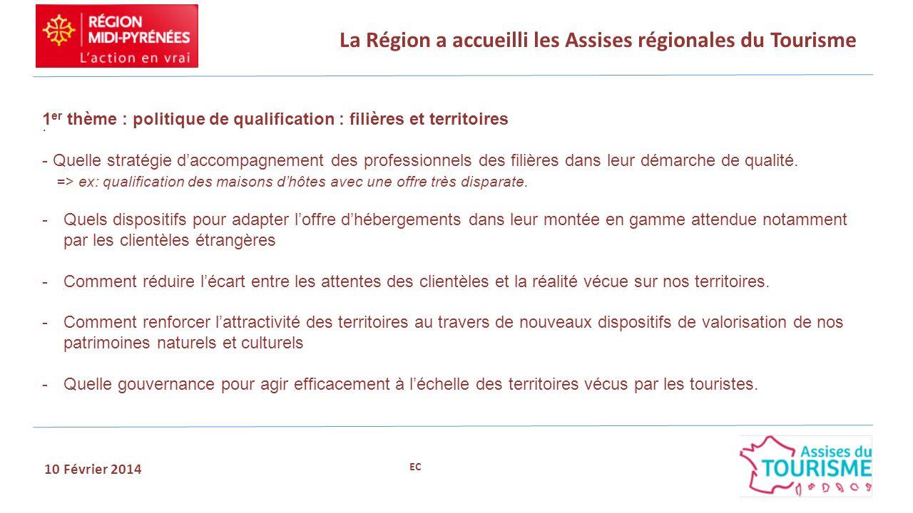 La Région a accueilli les Assises régionales du Tourisme 10 Février 2014. 1 er thème : politique de qualification : filières et territoires - Quelle s