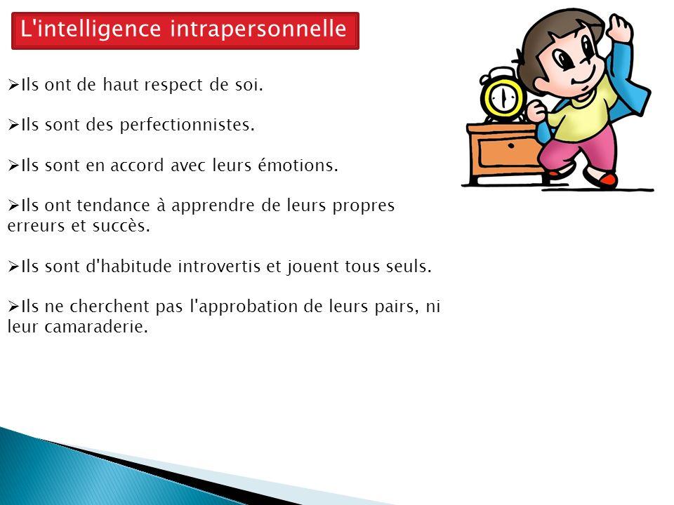 L intelligence intrapersonnelle Ils ont de haut respect de soi.