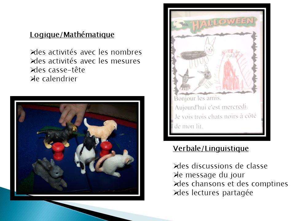 Verbale/Linguistique des discussions de classe le message du jour des chansons et des comptines des lectures partagée Logique/Mathématique des activités avec les nombres des activités avec les mesures des casse-tête le calendrier