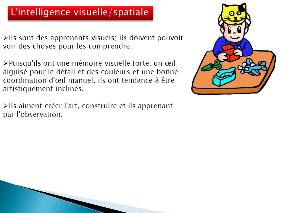 L intelligence visuelle/spatiale Ils sont des apprenants visuels; ils doivent pouvoir voir des choses pour les comprendre.