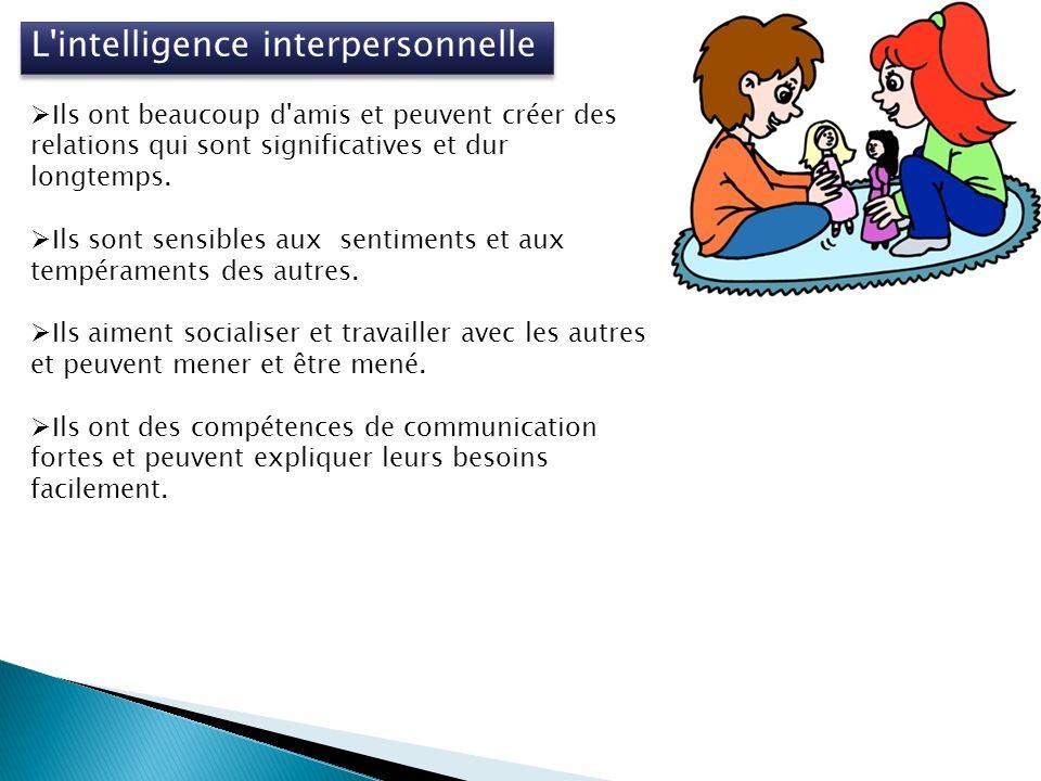 L intelligence interpersonnelle Ils ont beaucoup d amis et peuvent créer des relations qui sont significatives et dur longtemps.