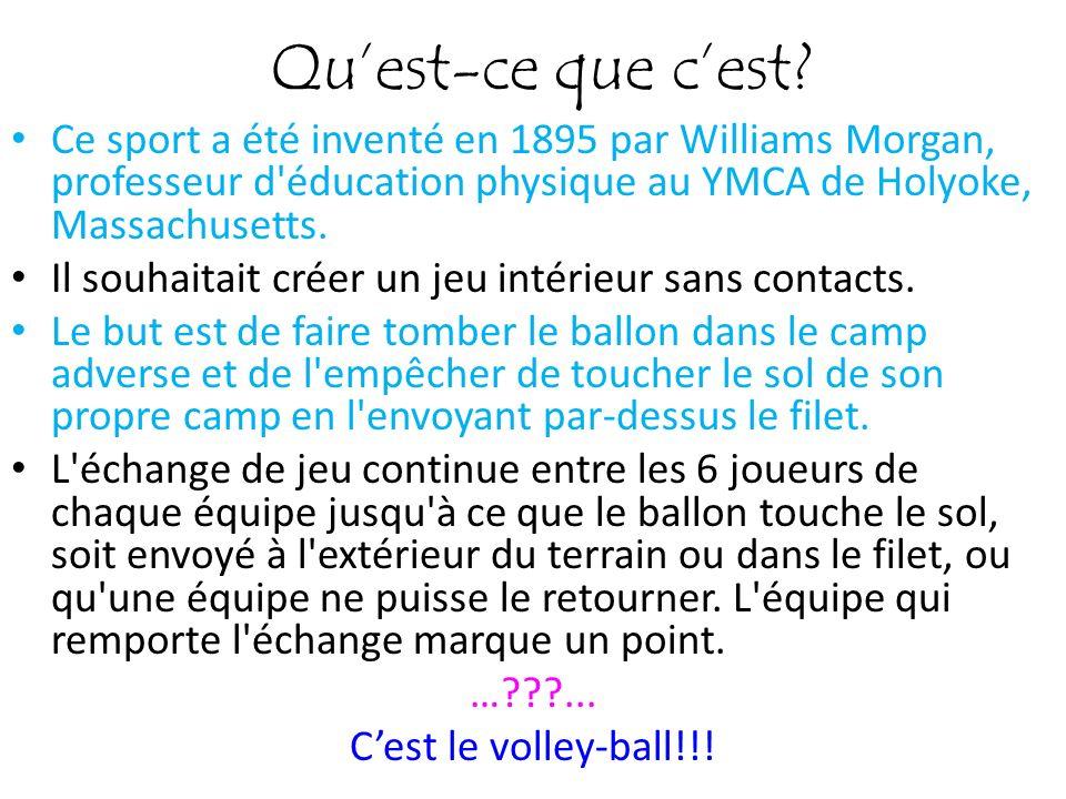 Quest-ce que cest? Ce sport a été inventé en 1895 par Williams Morgan, professeur d'éducation physique au YMCA de Holyoke, Massachusetts. Il souhaitai