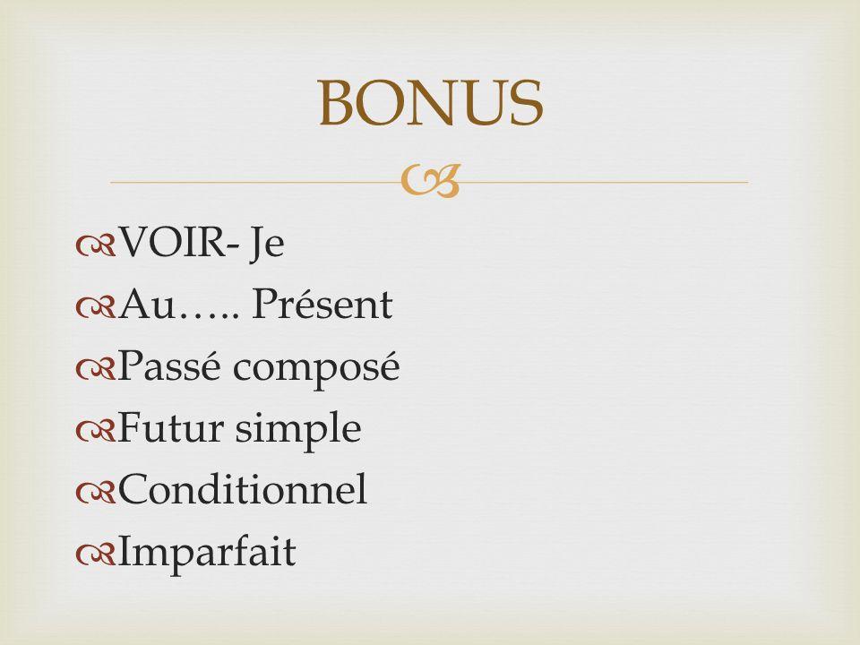 VOIR- Je Au….. Présent Passé composé Futur simple Conditionnel Imparfait BONUS