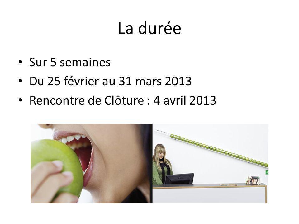La durée Sur 5 semaines Du 25 février au 31 mars 2013 Rencontre de Clôture : 4 avril 2013