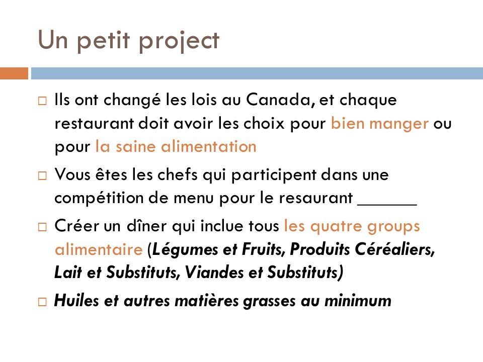 Un petit project Ils ont changé les lois au Canada, et chaque restaurant doit avoir les choix pour bien manger ou pour la saine alimentation Vous êtes