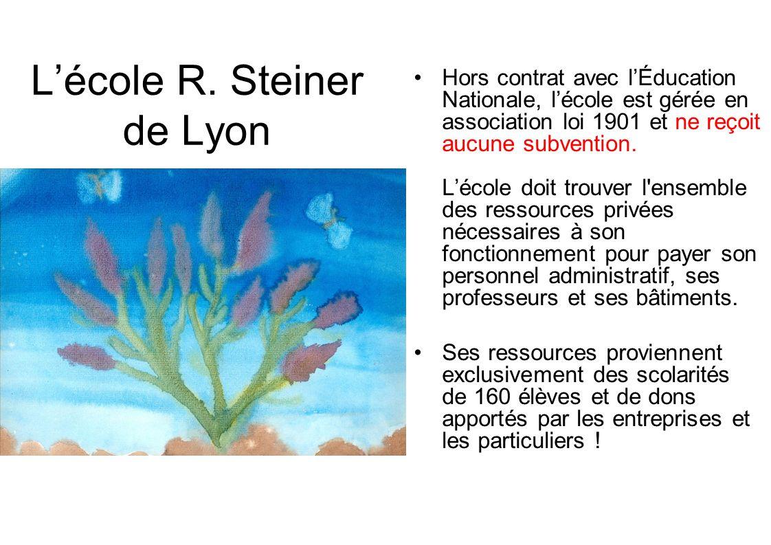 Lécole R. Steiner de Lyon Hors contrat avec lÉducation Nationale, lécole est gérée en association loi 1901 et ne reçoit aucune subvention. Lécole doit