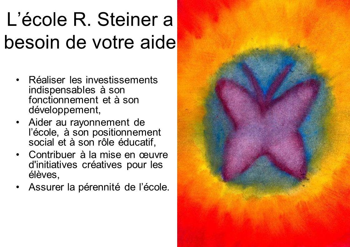 Lécole R. Steiner a besoin de votre aide Réaliser les investissements indispensables à son fonctionnement et à son développement, Aider au rayonnement